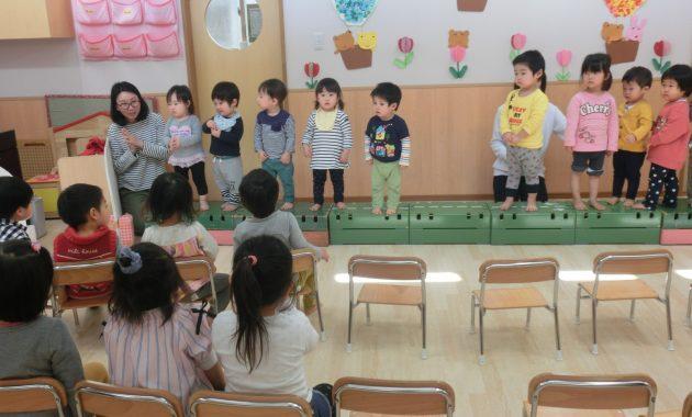 乳児部さんの進級お祝い会のようす