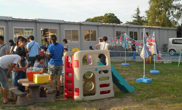 第1園仮園舎での夜祭のようす